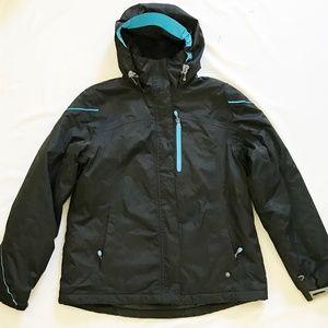 Lands End Black Blue Hoodie Jacket Coat Parka